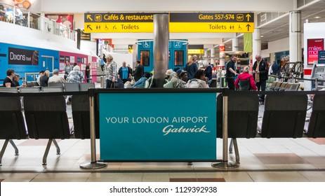LONDON - CIRCA MAY, 2018: Gatwick International Airport interior view.