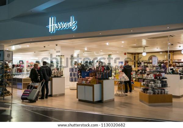 61d6cf39f LONDON - CIRCA MAY, 2018: Harrods shop inside Gatwick International Airport.  Harrods was