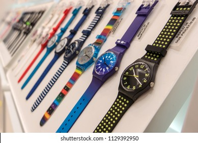 LONDON - CIRCA MAY, 2018: Swatch watches inside Gatwick Airport. The Swatch Group was formed in 1983. Worldwide, The Swatch Group employs over 36,000 people in 50 countries.