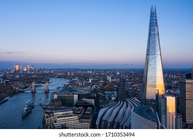 London City, 20 April 2020: Aerial view of the City of London Shard