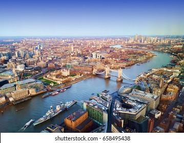 London city, aerial view, United Kingdom