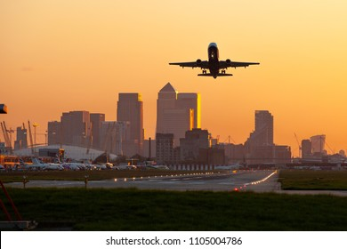london city airport with canary wharf