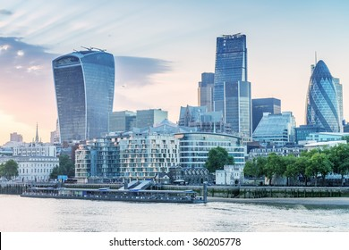 London. City buildings along river Thames.