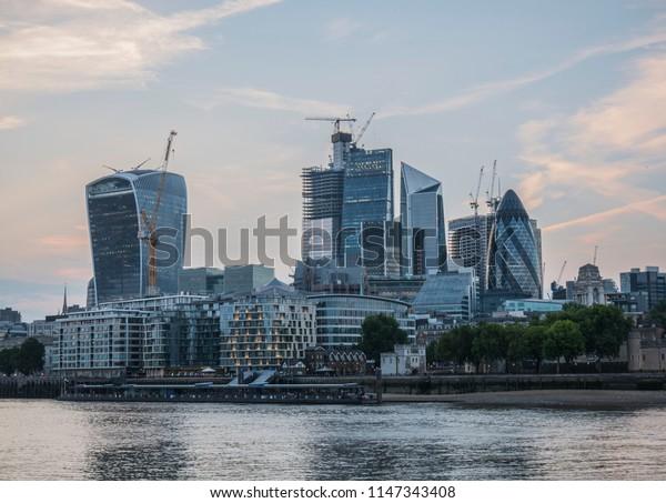 London city buildings, sunset