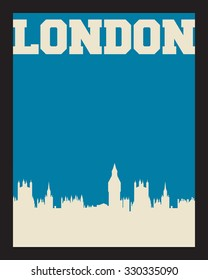 London city concept, logo, label. Word and Icon Cloud. Hipster style. T-shirt design. Typography. Creative poster design.