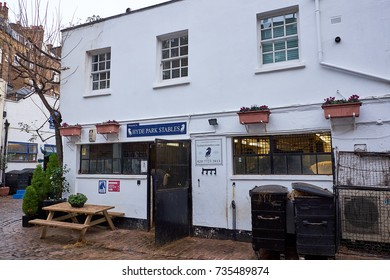 LONDON CITY - DECEMBER 23, 2016: Hyde Park stables on Bathurst Mews a traditional horse stable in the middle of London