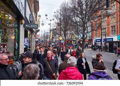 LONDON CITY - DECEMBER 23, 2016: Loads of people walking Oxford Street for shopping on the last days before Christmas