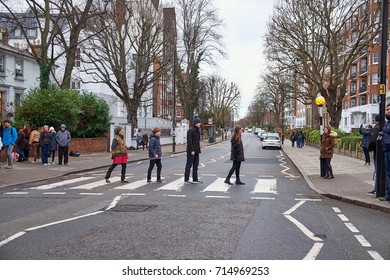 LONDON CITY - DECEMBER 25, 2016: People walking on the crossing over Abbey Road like the cover from the Beatles