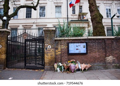 LONDON CITY - DECEMBER 25, 2016: Flower placed in memory outside the Russian Embassy in Paddington in London