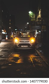 London city, England, 21/05/2019: Editorial picture of silver Ford transit van, parked in London city at night time.