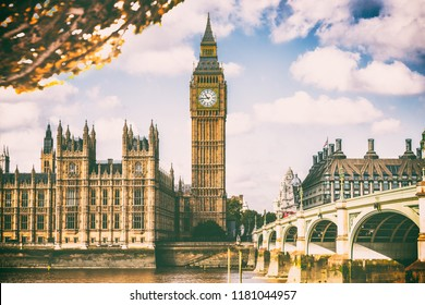 London city in fall foliage - Autum Europe destination travel icon background.