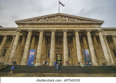 LONDON CITY - FEBRUARY, 2017: Exterior view of the British Museum, London, England, United Kingdom, Europe