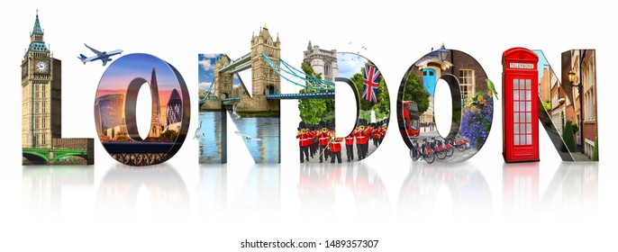 London city landmarks. Word illustration of most famous London m - Shutterstock ID 1489357307
