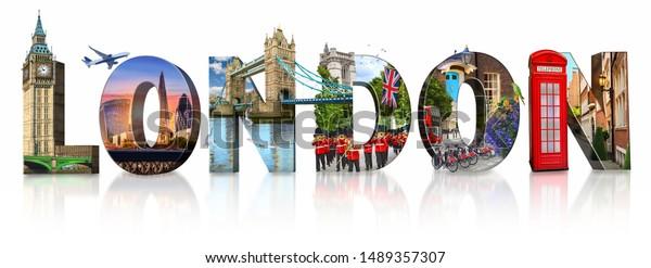 London city landmarks. Word illustration of most famous London m