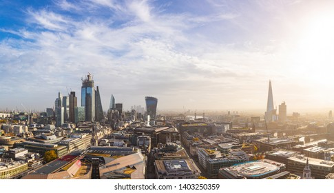 London city panoramic view - Aerial view of London and its skyline with modern skyscrapers in the financial district, downtown - Urban scene in the capital city of UK on a sunny day