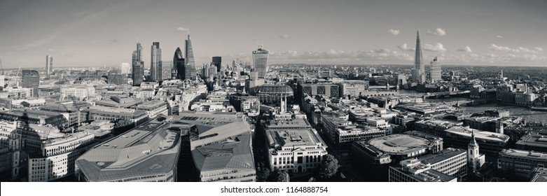 London city rooftop view panorama in black and white with urban architectures.