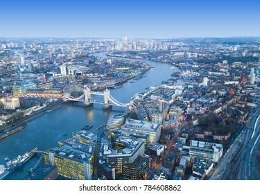 London city skyline, aerial view