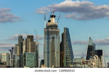 London City Skyline, Cityscape. Construction of High Rise Buildings