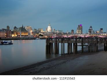 London city skyline at dusk