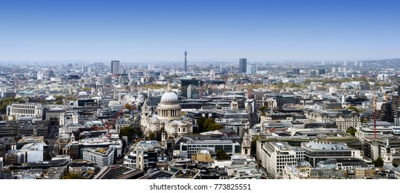 London city skyline in England during the day with buildings and famous landmarks St Pauls and BT Tower