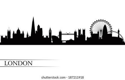 London city skyline silhouette background,