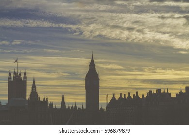 London city skyline at sunset view towards big ben and the houses of parliament