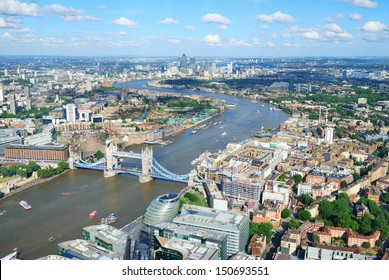 London City Streets and River Thames from above