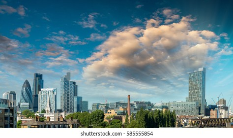 London City sunset. View on business modern district.