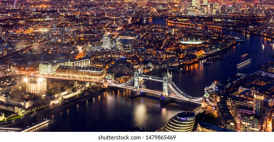 London cityscape at night, United Kingdom. Aerial view