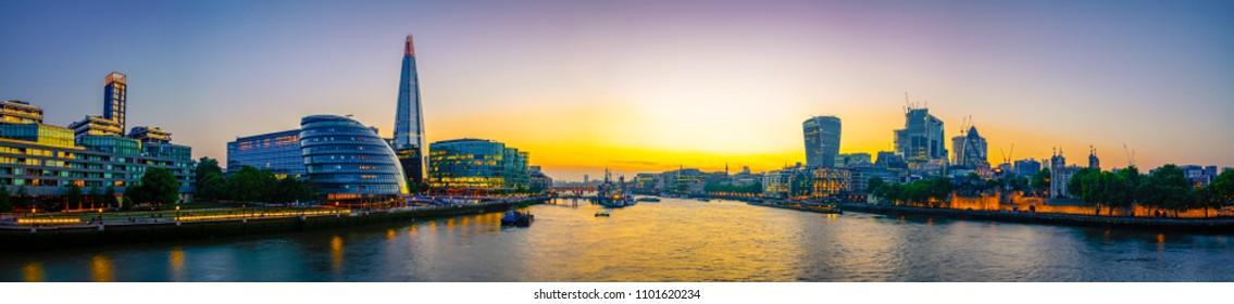 London Cityscape panorama at sunset