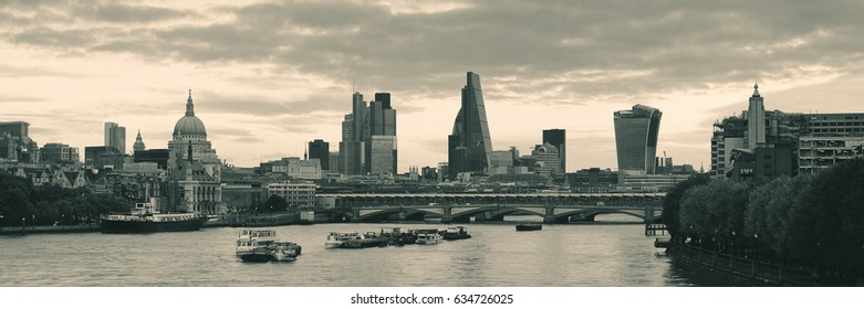 London cityscape panorama with urban buildings over Thames River