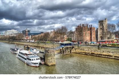 London Cityscape, seen from Tower Bridge, England, UK