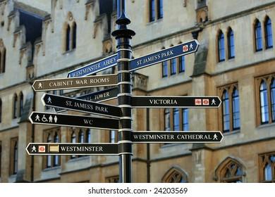 London cityscape. Signposts sights of London