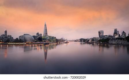 London Cityscape Skyline City View Panorama Sunrise Southbank side reflections
