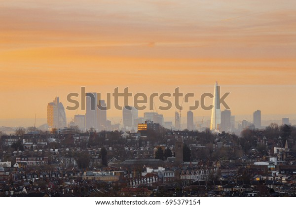 London Cityscape at Sunset from Alexandra Palace, London, England, UK