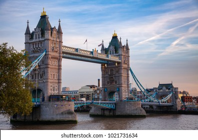 London cityscape with Tower Bridge over the River Thames in evening light