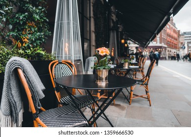 London coffee and restaurant terrace with tables and chairs