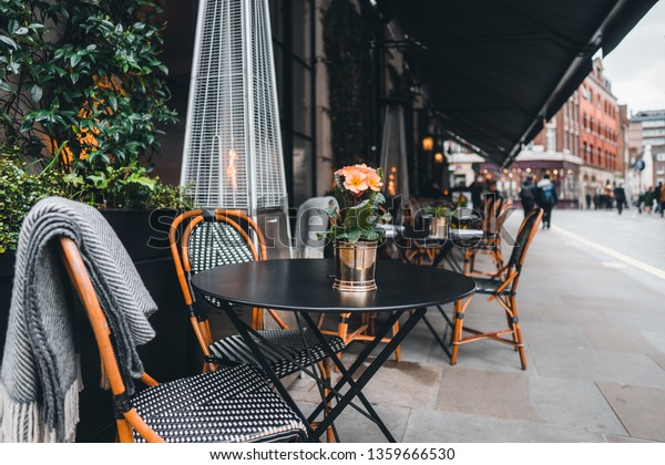 London Coffee Restaurant Terrace Tables Chairs Stock Photo