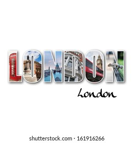 London collage of different famous locations. - Shutterstock ID 161916266