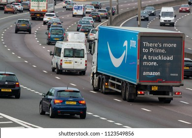 LONDON COLNEY, UK - JUNE 28, 2018: Amazon Prime lorry in motion on the British motorway M25