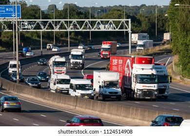 LONDON COLNEY, UK - JUNE 28, 2018: Heavy traffic on busiest British motorway M25