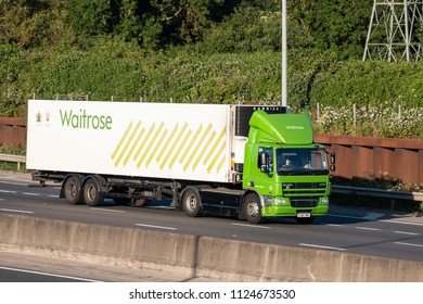LONDON COLNEY, UK - JUNE 28, 2018: Lorry belonging to the British Waitrose Supermakret in motion on the motorwey M25