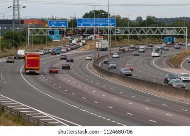 LONDON COLNEY, UK - JUNE 28, 2018: Afternoon traffic on busiest British motorway M25