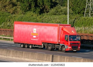 LONDON COLNEY, UK - JUNE 28, 2018: British Royal Mail lorry in motion on M25 motorway