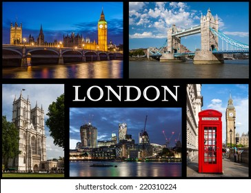 London - Composition of famous building of London like Tower Bridge, Westminster, House of Parliament, Big Ben, Red Box and financial district.