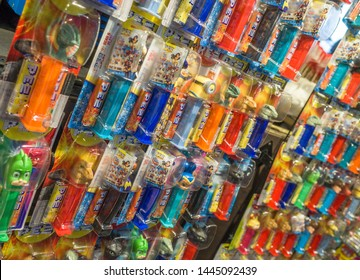 London, Covent Garden, UK /  - May 9th 2019: Pez dispensers famous for powdery square shaped candies and their famous dispensers with various characters for sale in a store.