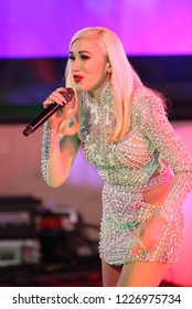 LONDON - DEC 01, 2017: Gwen Stefani seen performing live for the BBC One Show at the BBC studios in London