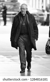 LONDON - DEC 02, 2018:  ( Image digitally altered to monochrome ) Justin Welby Archbishop of Canterbury seen at the BBC studios for the Andrew Marr Show