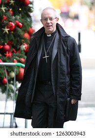 LONDON - DEC 02, 2018: Justin Welby Archbishop of Canterbury seen at the BBC studios for the Andrew Marr Show