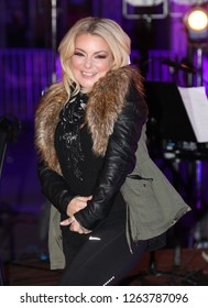 LONDON - DEC 08, 2017: Sheridan Smith rehearsals for her live performance on the BBC One Show outside the BBC Studios in London